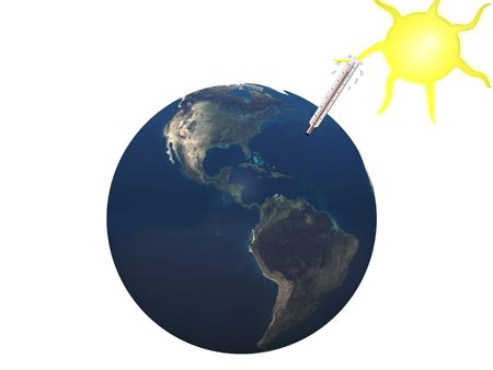 overheated: The earth with a hot thermometer in it and a sun shining, representing  global warming.