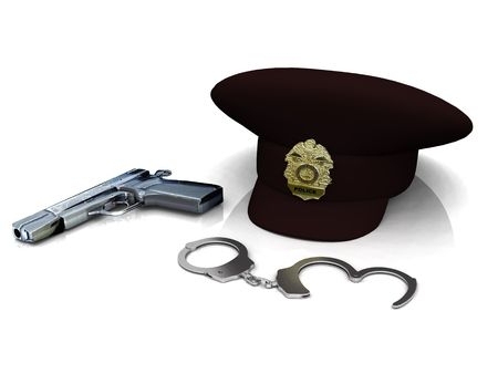 handcuffs: A police hat, gun and handcuffs on white background.