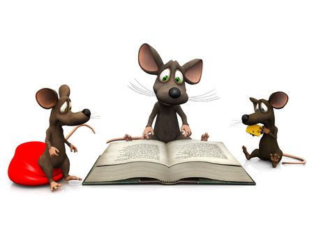 storytime: An adult mouse reading a story for two mice kids.