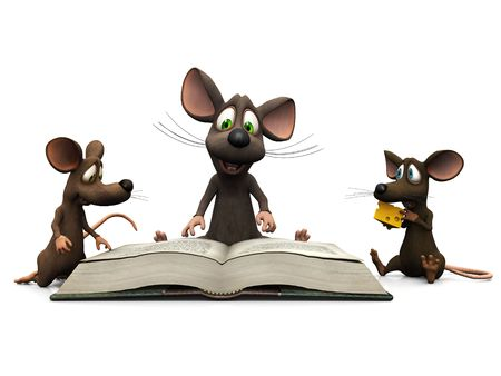 An adult cartoon mouse reading a story for two mice kids.