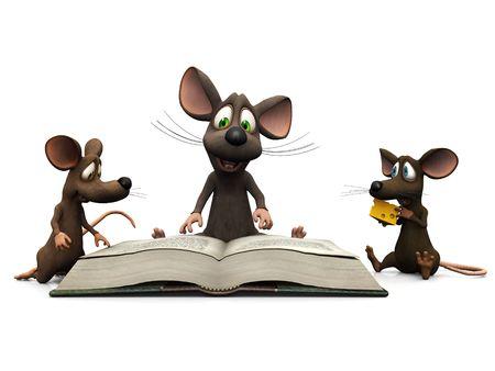 Un ratón de dibujos animados para adultos leer una historia de dos ratones niños. Foto de archivo - 4691889