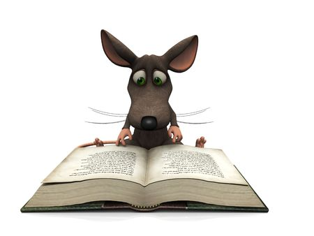 A cartoon mouse reading a big book, isloated on white background. photo