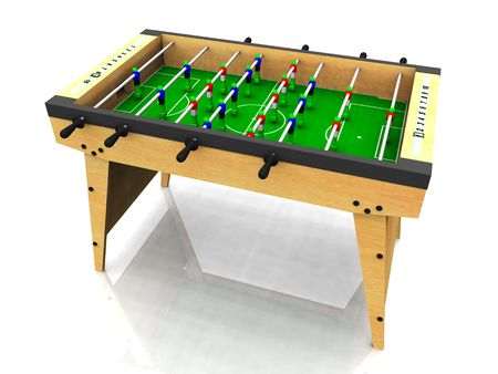 foosball: A wooden foosball table on white background.