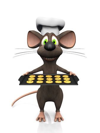A cartoon mouse as a baker, holding a baking pan with cookies.