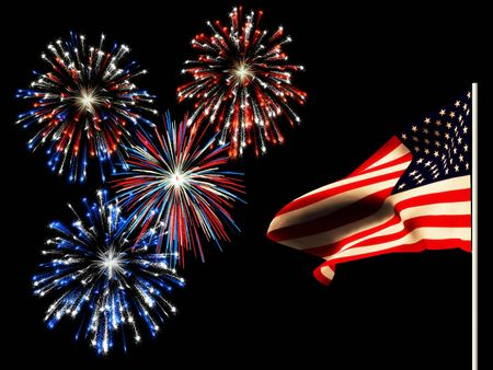 Fireworks on the 4th of july and the american flag. Stock Photo