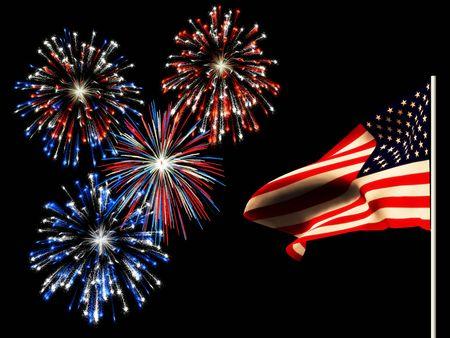 juli: Vuurwerk op 4 juli en de Amerikaanse vlag.
