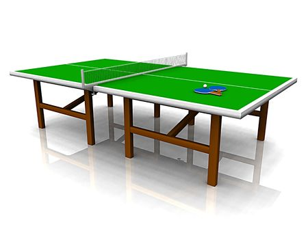 A ping pong table with two paddles and a ball on it.