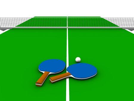 ping pong: Una mesa de ping pong con dos paletas y una pelota en el mismo. Foto de archivo