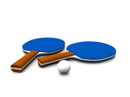 ballsport: A ping pong ball and two ping pong paddles on white background. Stock Photo