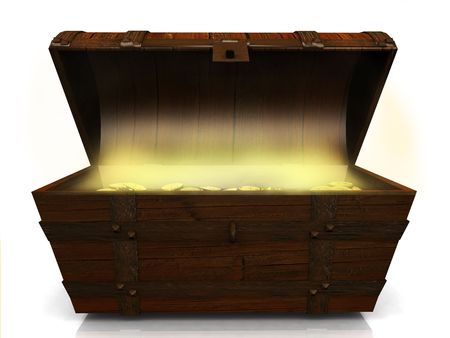 gold treasure: An old wooden treasure chest filled with gold coins on white background. Stock Photo