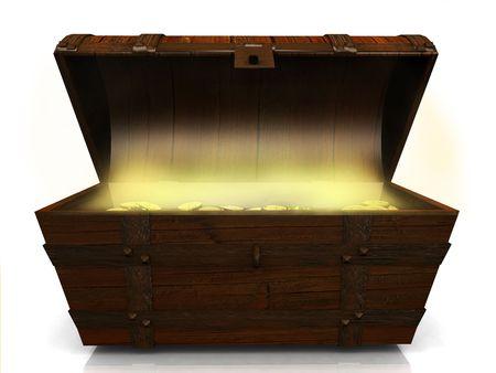 cofre del tesoro: Un viejo cofre del tesoro lleno de monedas de oro sobre fondo blanco.