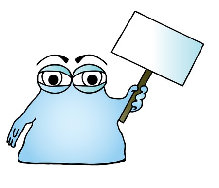 Vector illustration of a blue cartoon blob character holding a blank sign. Stock Vector - 4775252