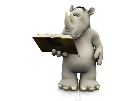 storytime: A cartoon rhino holding a book in his hand that he is reading. Stock Photo