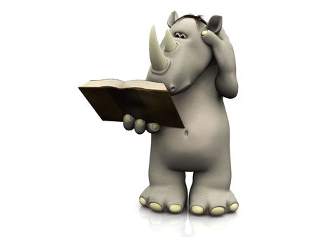 storytime: A cartoon rhino holding a book in his hand that he is reading and scratching his head. Stock Photo