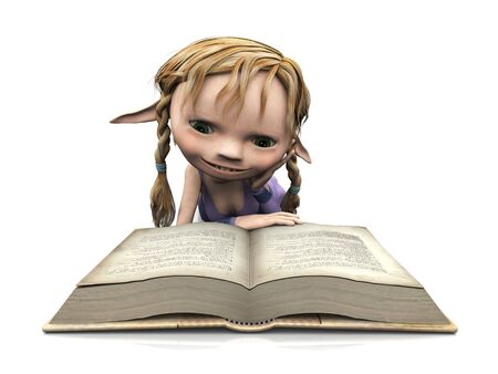 storytime: A cute cartoon elf girl with blonde hair reading a book.