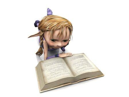 pigtail: A cute cartoon elf girl with blonde hair reading a book.
