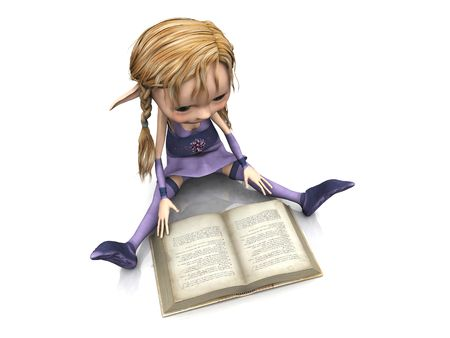 A cute cartoon elf girl with blonde hair sitting on the floor and reading a book. photo