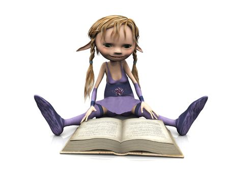 plaits: A cute cartoon elf girl with blonde hair sitting on the floor and reading a book. Stock Photo