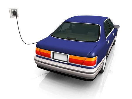 An electric car plugged in with a cord to a socket, charging its batteries. photo