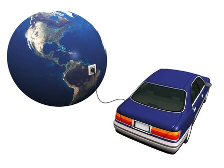 An electric car plugged in with a cord to the earth, charging it's batteries. Stock Photo - 4846911