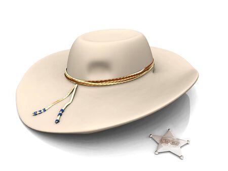 sheriffs: A sheriffs hat and a sheriffs star on white background. Stock Photo