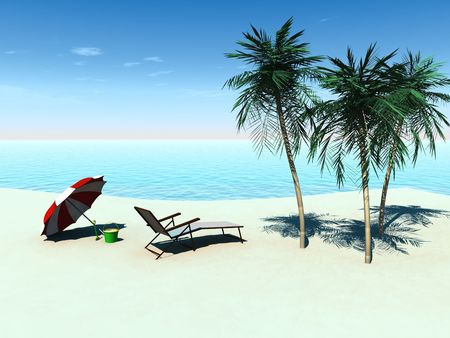 A deck chair, sun parasol, bucket and spade on a tropical beach with palm trees. photo