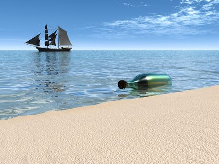 A bottle with a message in it lying at the beach just by the waterside and a ship in the background. Stock Photo - 4858713
