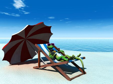 A cool cartoon gecko on the beach on a sunny day, relaxing in a deck chair with a drink in his hand.