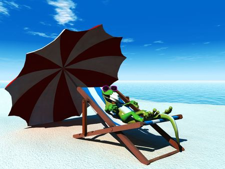 A cool cartoon gecko on the beach on a sunny day, relaxing in a deck chair and eating an ice cream.
