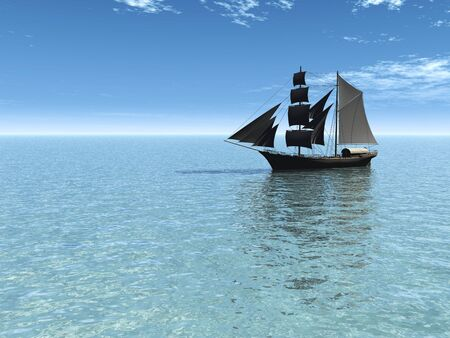buccaneer: An old merchant ship out at sea on a sunny day.