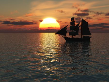 An old merchant ship out at sea at sunset.