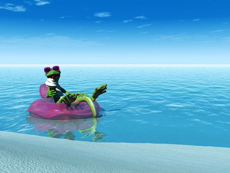 swimming glasses: A cool cartoon gecko eating an ice cream while floating on a bathing ring in the  ocean on a sunny day.