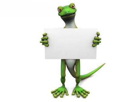 lizard: Un geco verde de dibujos animados en blanco con un signo en sus manos.