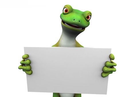 A green cartoon gecko holding a blank sign in its hands. Stock Photo