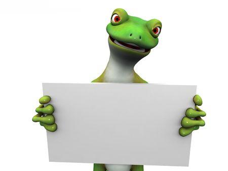l�zard: Un gecko vert cartoon exploitation signer un blanc dans ses mains.