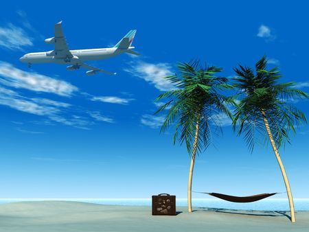 An airplane flying over a tropical beach. On the beach there are palm trees with a hammock between them and a travel suitcase.
