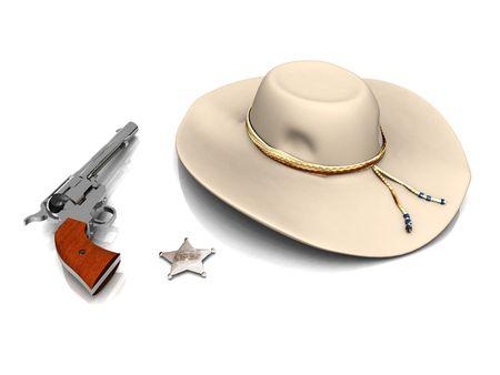 sheriffs: A sheriffs hat, a gun and a sheriffs star on white background. Stock Photo