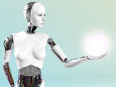 Un robot mujer que sostiene una esfera brillante de la energía o la luz en la mano.