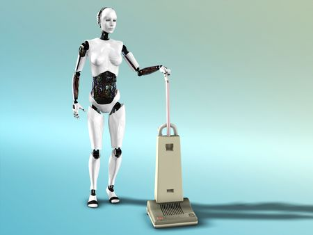 A female robot doing some vacuum cleaning. Stock Photo