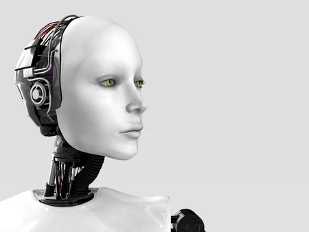 A robot woman head isolated on white background. Stock Photo