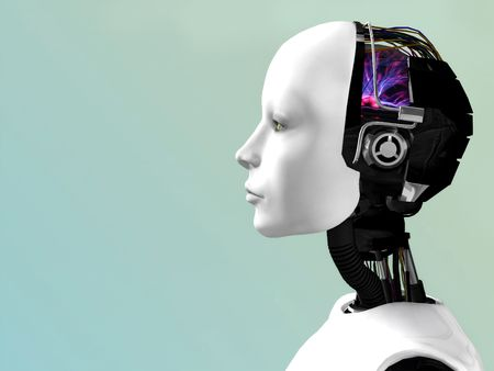 An image of a robot woman head in profile. Stock Photo