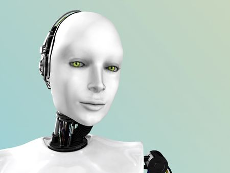 An image of a robot womans face.