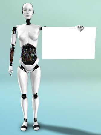 cyborg: A robot woman holding a blank sign in her hand.