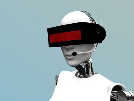 A female robot wearing a futuristic headset. Stock Photo