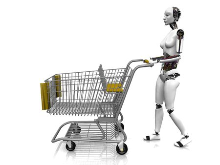 A female robot pushing a shopping cart on white background. Stock Photo