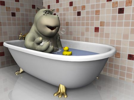 rubber duck: A cartoon hippo in a bathtub with his rubber duck, playing with bubbles. Stock Photo