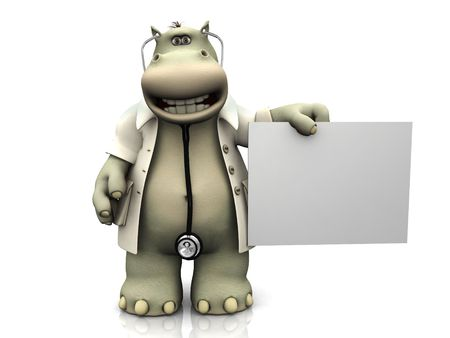 A cartoon hippo dressed as doctor holding a blank sign. Stock Photo