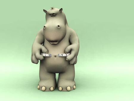 measurement tape: A chubby cartoon hippo looking shocked when measuring his waist. Stock Photo