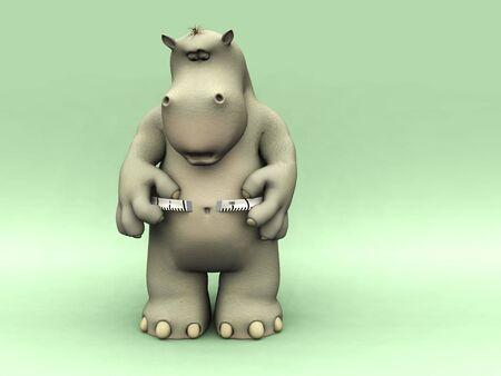waist weight: A chubby cartoon hippo looking shocked when measuring his waist. Stock Photo