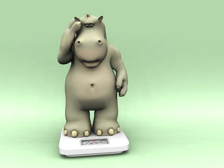 A cartoon hippo looking shocked when weighing himself on a scale. Stock Photo